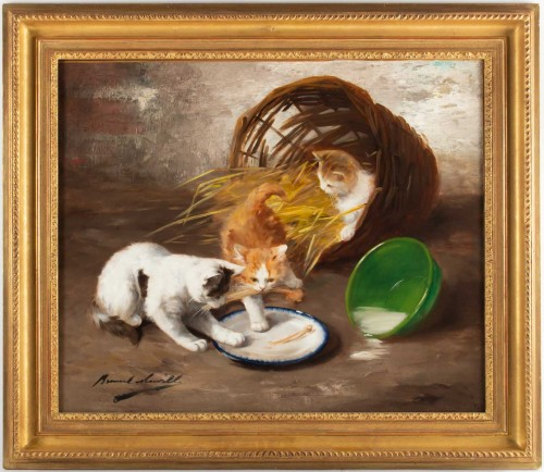 Alfred Arthur de Brunel de Neuville (1852 - 1941 - The Kittens' Meal