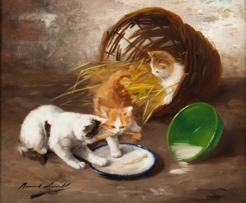 Alfred Arthur de Brunel de Neuville (1852 - 1941 - The Kittens' Meal - Paintings & Drawings Style