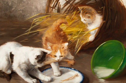 Paintings & Drawings  - Alfred Arthur de Brunel de Neuville (1852 - 1941 - The Kittens' Meal