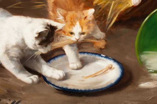 19th century - Alfred Arthur de Brunel de Neuville (1852 - 1941 - The Kittens' Meal
