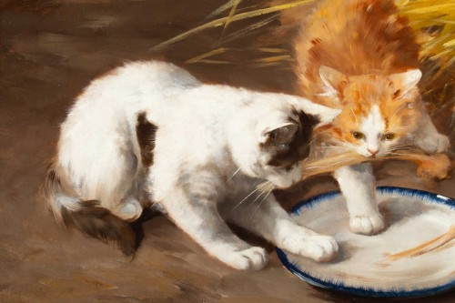 - Alfred Arthur de Brunel de Neuville (1852 - 1941 - The Kittens' Meal