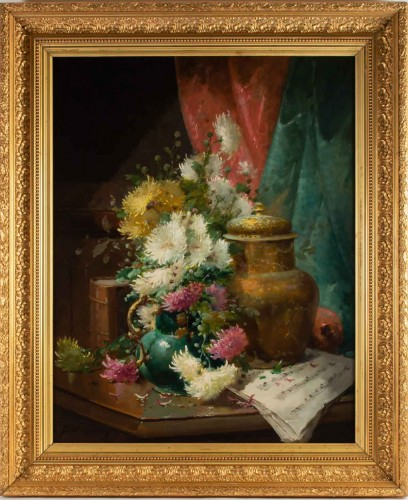 Alfred Godchaux (1835 - 1895) - Still Life With Chrysanthenums.