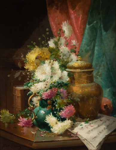 Alfred Godchaux (1835 - 1895) - Still Life With Chrysanthenums. - Paintings & Drawings Style