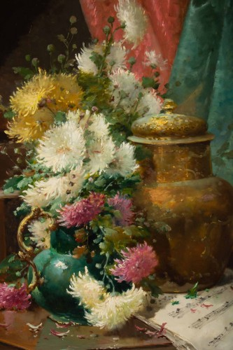 Paintings & Drawings  - Alfred Godchaux (1835 - 1895) - Still Life With Chrysanthenums.
