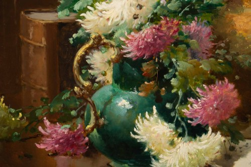 Alfred Godchaux (1835 - 1895) - Still Life With Chrysanthenums. -