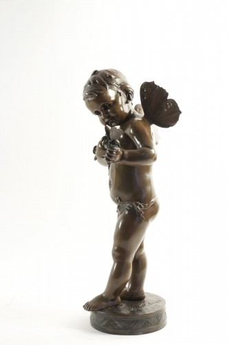 Sculpture  - Theodore Ludwig Tholenaar (1848 - 1923) - Putto with a butterfly