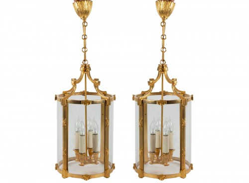 A Pair of bronze lanterns
