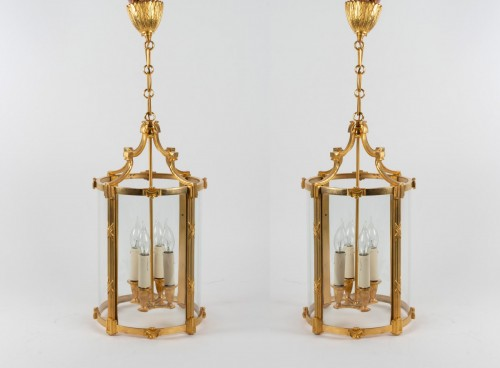 A Pair of bronze lanterns -