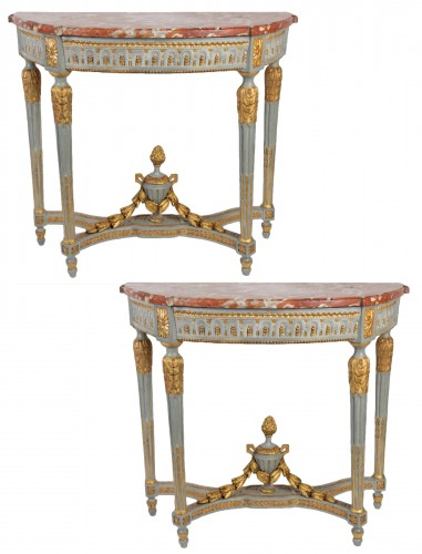 "A Louis XVI perid (1774 - 1793) paire of console tables ""demi-lune"""