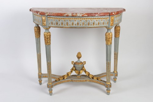 "A Louis XVI perid (1774 - 1793) paire of console tables ""demi-lune"" - Furniture Style Louis XVI"
