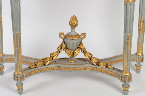 "Furniture  - A Louis XVI perid (1774 - 1793) paire of console tables ""demi-lune"""