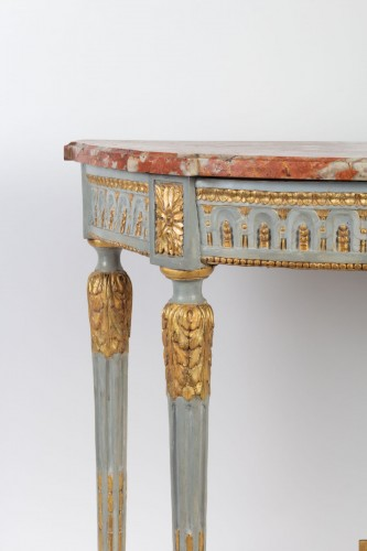 "A Louis XVI perid (1774 - 1793) paire of console tables ""demi-lune"" -"