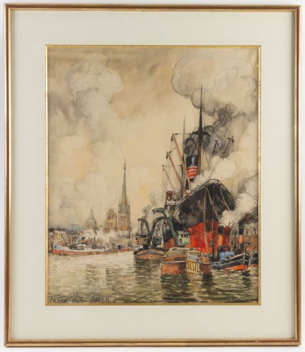 Frank Will (1900 - 1950) - A View of the Rouen harbor