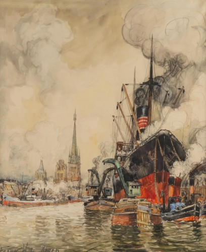 Frank Will (1900 - 1950) - A View of the Rouen harbor - Paintings & Drawings Style