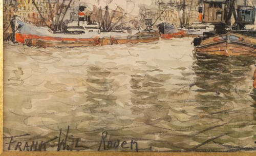 Paintings & Drawings  - Frank Will (1900 - 1950) - A View of the Rouen harbor