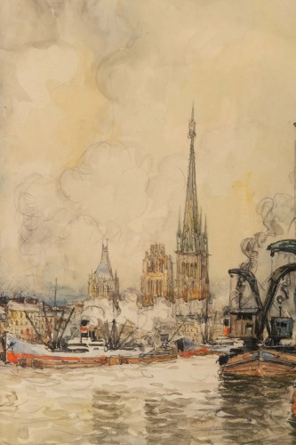 20th century - Frank Will (1900 - 1950) - A View of the Rouen harbor