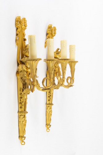 19th century - A Pair of Louis XVI style bronze scones.