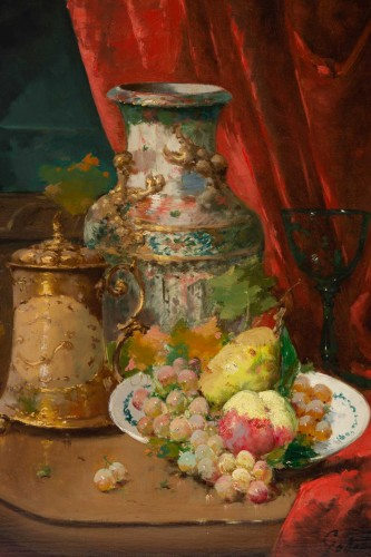 Paintings & Drawings  - Emile Godchaux (1860 - 1938) : Plate with fruits with a Chinese vase.