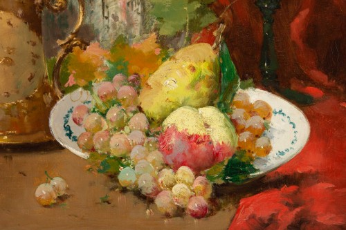 19th century - Emile Godchaux (1860 - 1938) : Plate with fruits with a Chinese vase.