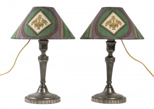 A pair of tin candelsticks mounted Lamps