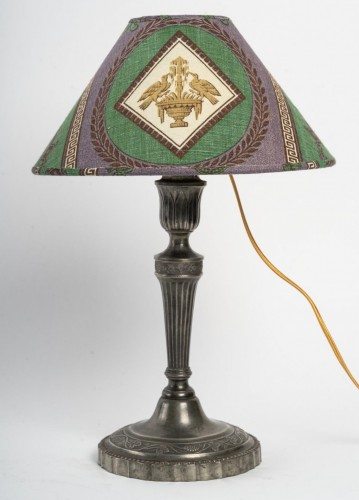 19th century - A pair of tin candelsticks mounted Lamps