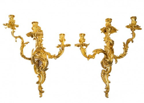 A Pair of wall lights in Louis XV style.
