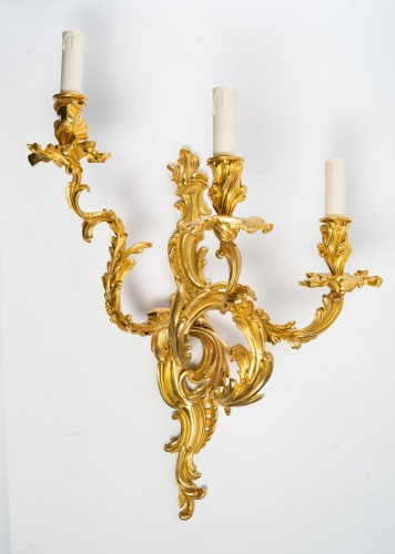 A Pair of wall lights in Louis XV style. -