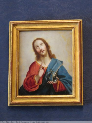 """salvator mundi"", Oil on copper of the 18th century -"