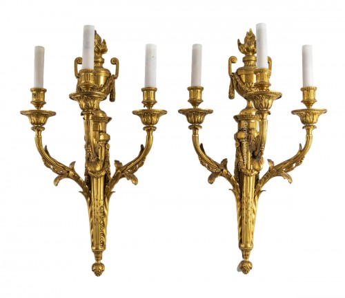A Pair of late 19th century wall-lights in Louis XVI style
