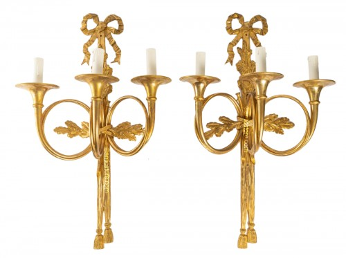 A Pair of Napoleon III wall-lights in Louis XVI style.