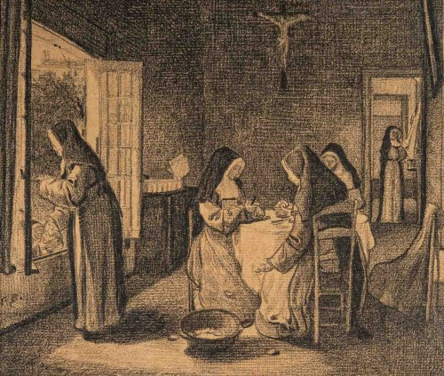 François Bonvin (1817 - 1887)  - The Kitchen of the Sisters of Charity - Paintings & Drawings Style