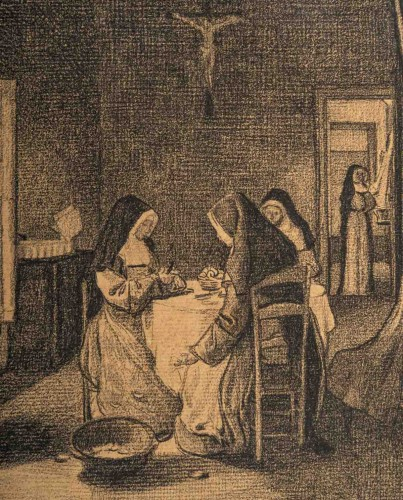 Paintings & Drawings  - François Bonvin (1817 - 1887)  - The Kitchen of the Sisters of Charity