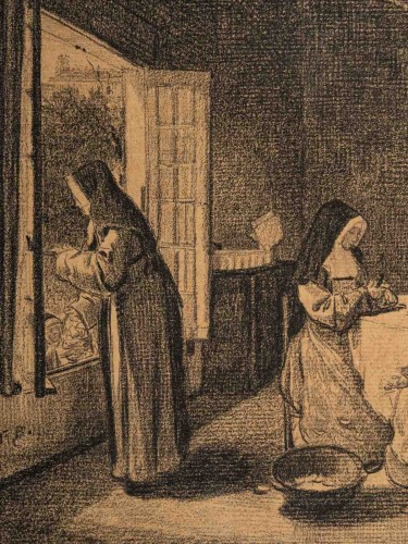 François Bonvin (1817 - 1887)  - The Kitchen of the Sisters of Charity -