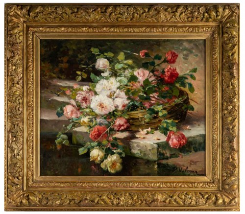 Roses on an entablature - P. Valmon (1850 - 1911)