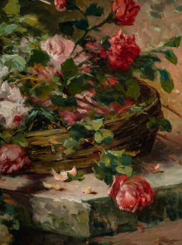 Roses on an entablature - P. Valmon (1850 - 1911) - Paintings & Drawings Style
