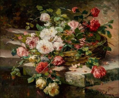 Paintings & Drawings  - Roses on an entablature - P. Valmon (1850 - 1911)