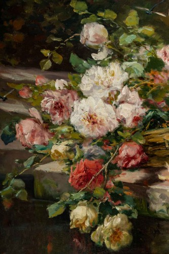 Roses on an entablature - P. Valmon (1850 - 1911) -