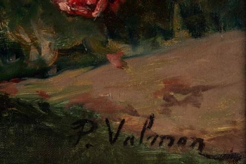 19th century - Roses on an entablature - P. Valmon (1850 - 1911)