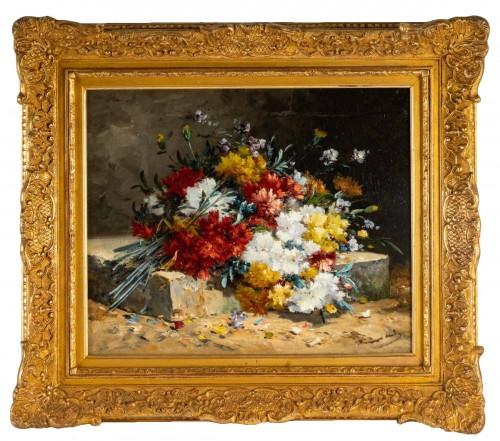 Bouquet of carnations on an entablature - Henri Cauchois (1850 - 1911)