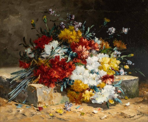 Paintings & Drawings  - Bouquet of carnations on an entablature - Henri Cauchois (1850 - 1911)
