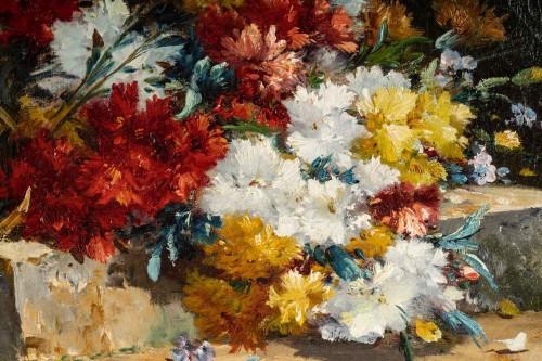 Bouquet of carnations on an entablature - Henri Cauchois (1850 - 1911) -