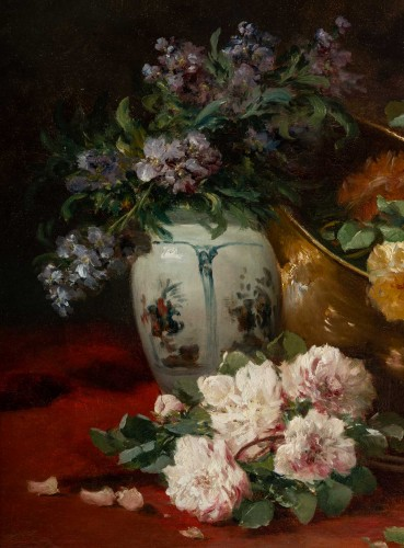 Paintings & Drawings  - Still life with the roses - Henri Cauchois (1850 - 1911)
