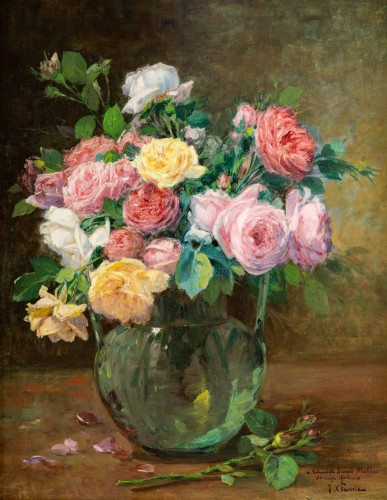 A Bouquet of roses - Justin Julles Claverie (1859 - 1932) - Paintings & Drawings Style