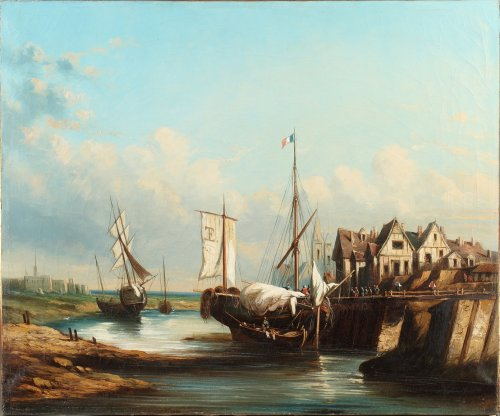 Boats at low tide by Le Poittevin, french official painter of the Navy