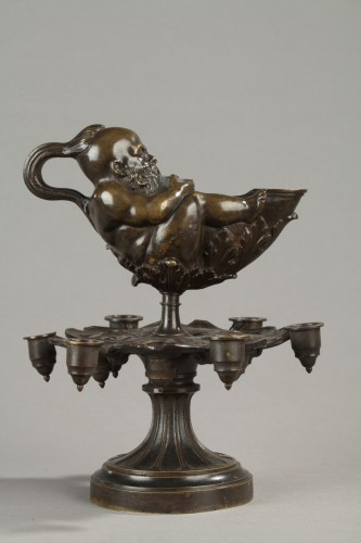 "19th century - 19th c. oil lamp to the ""lying spirit"""