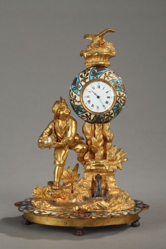 "Bronze and enamel Clock  ""Children and Bird"""