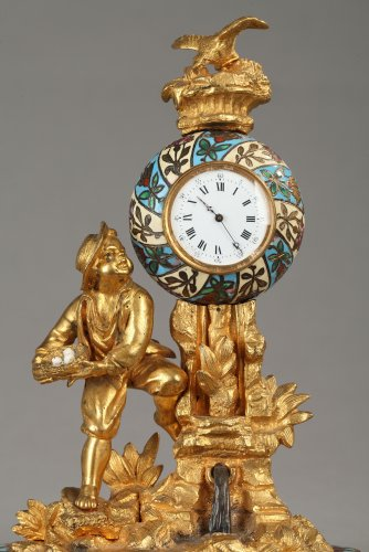 "Clocks  - Bronze and enamel Clock  ""Children and Bird"""