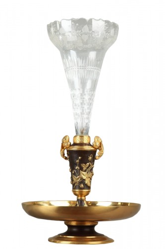 19th century gilt bronze and crystal centerpiece