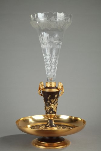 19th century gilt bronze and crystal centerpiece - Decorative Objects Style
