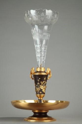 Antiquités - 19th century gilt bronze and crystal centerpiece